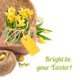Easter border with yellow tulips and daffodils, text space Stock Photography