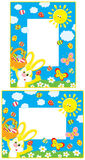 Easter borders. Vector frames with Easter Bunny, basket of painted eggs and butterflies flitting from flower to flower over a green lawn with daisies, smiling Stock Photography