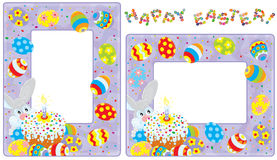 Easter borders. Frames with Easter Bunny, colorfully decorated cake and multicolor painted eggs Royalty Free Stock Photo
