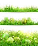 Easter borders. Set of three Easter borders with green eggs in grass Stock Photos