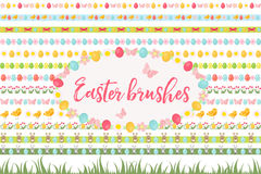 Easter borders, ornament, garland set. Banner with grass, eggs, flowers and other elements. Vector illustration, clip. Art Royalty Free Stock Images