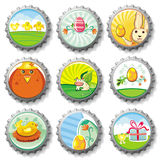 Easter bottle caps Stock Photography