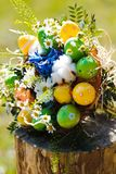 Easter bouquet from colored eggs.  Stock Photos