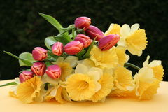 Easter bouquet. With Daffodils and Tulips Stock Photo