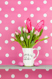 Easter bouquet on pink background Stock Image