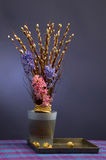 Easter bouquet with pussy willow and hyacinth.  Stock Photo