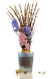 Easter bouquet with pussy willow and hyacinth.  Stock Image