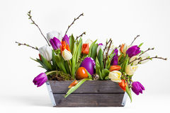 Easter bouquet with tulips. Tulips easter bouquet on white background Royalty Free Stock Photography