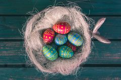 Easter chocolate eggs in a bowl royalty free stock photography