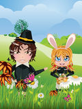 Easter Boy and Girl Stock Photo