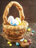 Easter braided basket Royalty Free Stock Photography