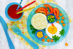Easter branch or breakfast for children egg colorful vegetables Stock Image