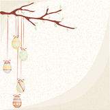 Easter branch in retro. Easter eggs on a branch on a background with pastel colors Stock Photos