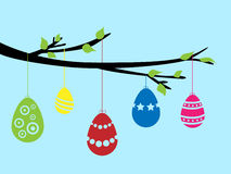 Easter branches. With colored eggs Stock Photo