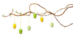 Easter Branches - with Easter Eggs, Ribbons and Chick Stock Photography