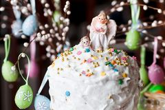 Easter bread and Angels. Celebratory Easter bread and Angels closeup royalty free stock images