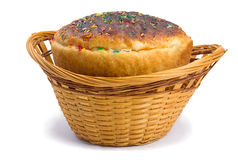Easter bread in a basket on a white background Stock Photography