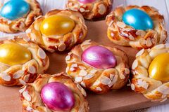 Free Easter Bread Buns With Egg Stock Photos - 169027573