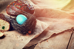 Easter bread and  cakes on the wooden table Royalty Free Stock Photography