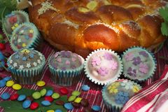 Easter bread with candys and muffins Stock Photo
