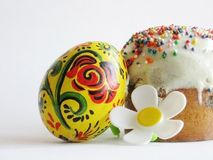 Easter bread and colored egg Royalty Free Stock Photo