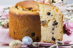 Easter bread and colorful eggs Stock Photos