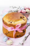 Easter bread and colorful eggs Royalty Free Stock Image