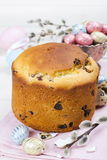 Easter bread and colorful eggs Stock Photography