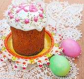 Easter bread and eggs royalty free stock photo