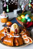 Easter bread and eggs Stock Photography