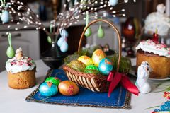 Easter bread and eggs Royalty Free Stock Photography
