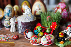 Easter bread and eggs Royalty Free Stock Image