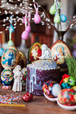 Easter bread and eggs Stock Photos