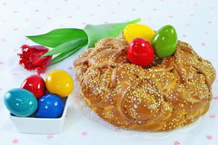 Easter bread and eggs Royalty Free Stock Images