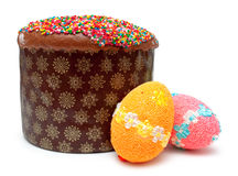 Easter bread and eggs (kulich) Royalty Free Stock Images