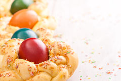 Easter bread with  eggs Stock Image