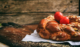 Easter bread and eggs on a table - copy space Royalty Free Stock Photo