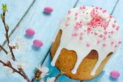 Easter bread kulich paska. Traditional easter food composition Royalty Free Stock Photos