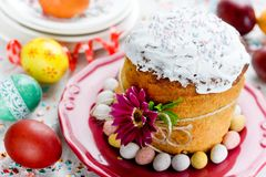 Easter bread kulich paska. Traditional easter food composition Royalty Free Stock Photography