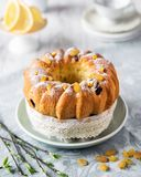 Easter bread with oranges and raisins, fresh spring branches with leaves. Russian kulich paska, polish babka sweteczna stock photos