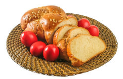 Easter bread  & red eggs. Royalty Free Stock Images