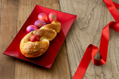 Easter bread  & red eggs. Royalty Free Stock Photos