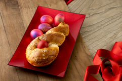 Easter bread  & red eggs. Stock Photography