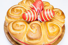 Easter bread with red eggs Royalty Free Stock Photos