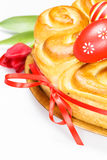 Easter bread with red eggs Stock Image