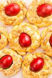 Easter bread with red eggs Stock Photo