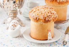 Easter Bread Topped with Flaked Almonds and Sugar Glaze Royalty Free Stock Photo