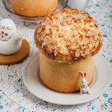 Easter Bread Topped with Flaked Almonds and Sugar Glaze Royalty Free Stock Images