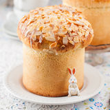 Easter Bread Topped with Flaked Almonds and Sugar Glaze Stock Images
