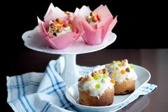 Easter bread with white icing, candied fruits and nuts Royalty Free Stock Photo